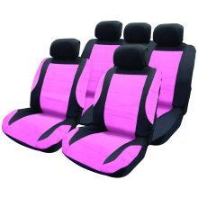 Pink Leather-look Extra-padded Car Seat Cover Set - Look Leather Padded Swtp8 -  cover seat set pink look car leather padded swtp8 steering wheel