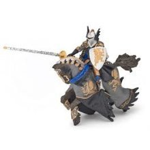 Papo Dragon Black Prince And Horse - 14cm Fantasy 36001 -  black dragon prince horse 14 cm fantasy papo 36001