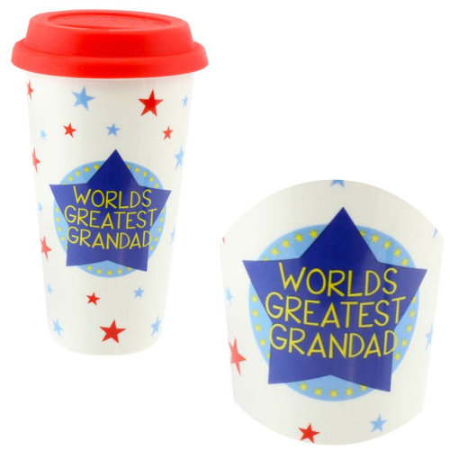 Fine China Travel Mug - Silicone Lid Star Confetti Design 'World's Greatest Grandad'
