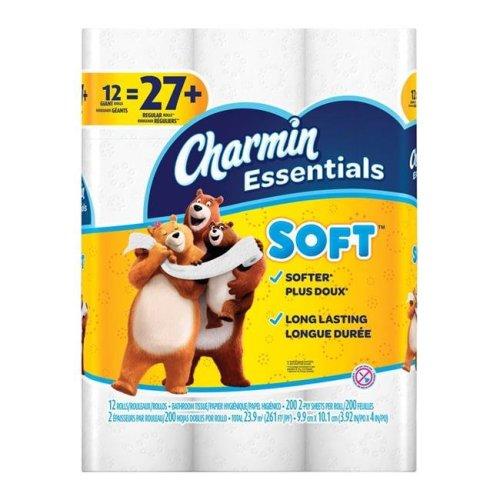Procter & Gamble 6393102 Charmin Essentials Toilet Paper - 12 Roll 200 Sheet