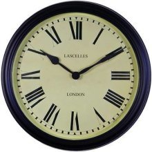 Vintage Style School Wall Clock 38cm by Roger Lascelles, Round, Black