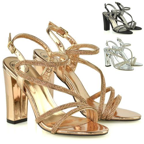 Womens Block Heel Strappy Sandals Ladies Diamante Bridal Party Evening Shoes