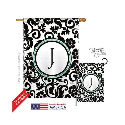 Breeze Decor 30062 Damask J Monogram 2-Sided Vertical Impression House Flag - 28 x 40 in.