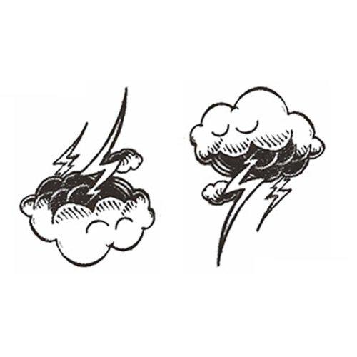 3 Sheets Black Temporary Tattoos Cloud and Lightning Body Art Stickers Small Tattoos Designs Tattoo Sticker