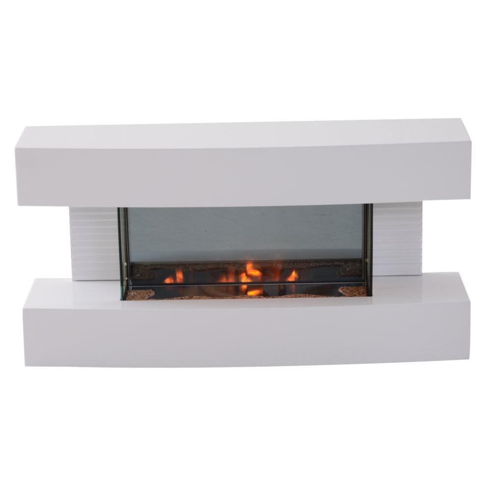 Homcom Electric Wall Mounted Fireplace Heater Log Flame