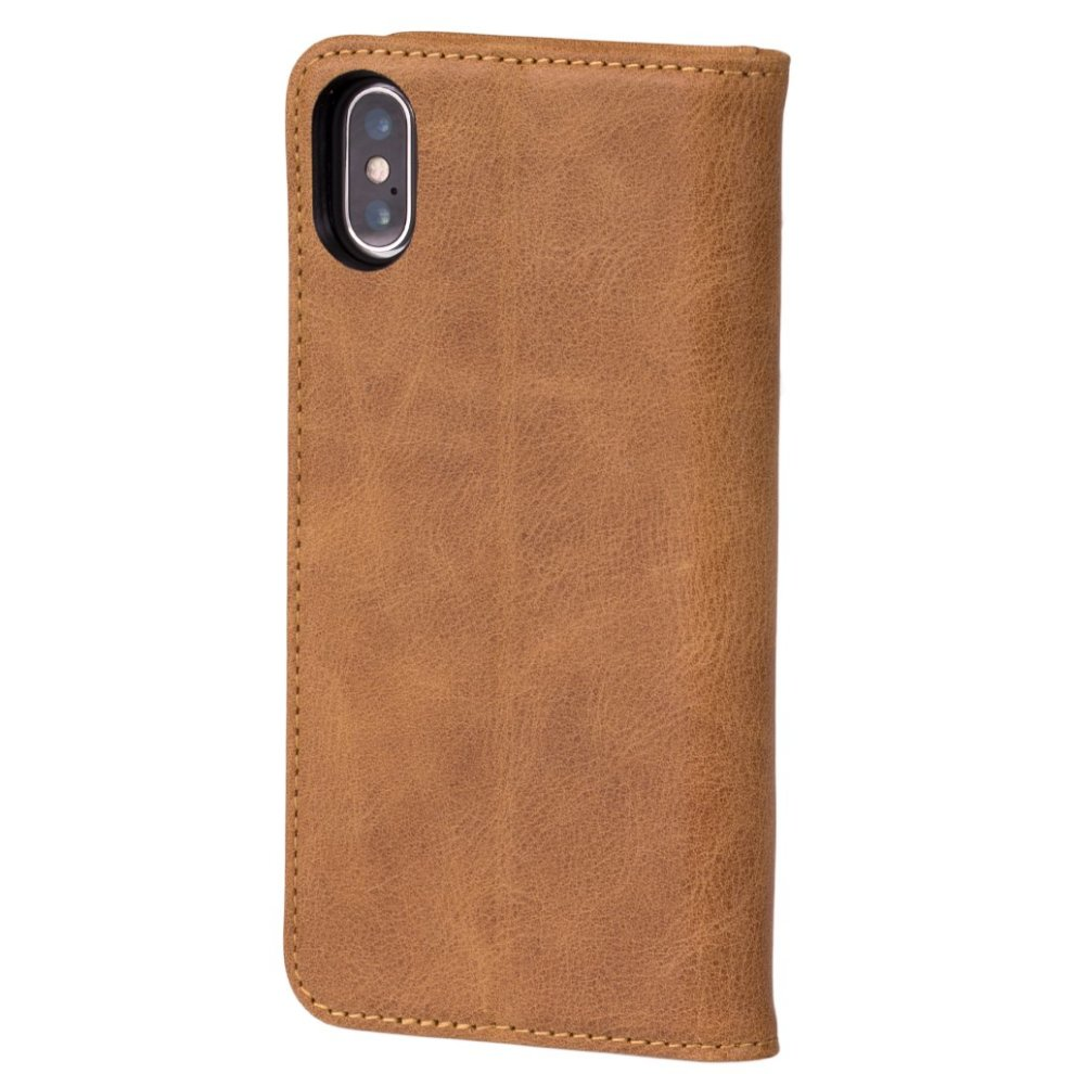 new product eaf80 9f8d4 iPhone XS Max USA Tan leather case, with stand function by TORRO