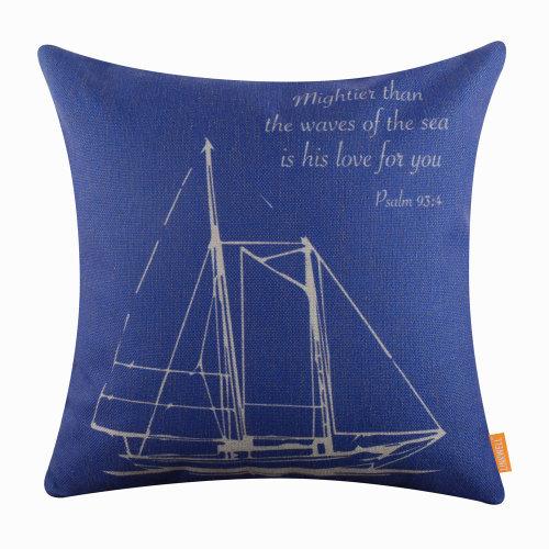 """18""""x18"""" Modern Blue Marine Sailboat Burlap Pillow Cover Cushion Cover"""