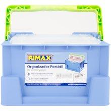 "Rimax Portable Organizer W/Removable Trays-12.25""X7.6""X9"" Blue & Green"