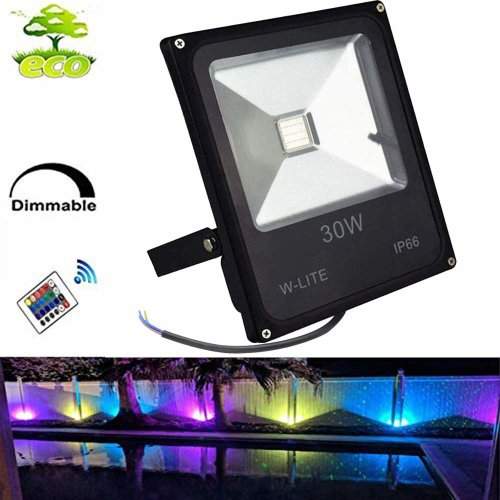 30w Rgb Led Garden Floodlight Outdoor With Remote Control Ip66 Waterproof Coloured Changing Flood Lights 16 Colour 4 Modes Light On