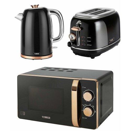 ROSE GOLD & BLACK Manual 20 Litre Microwave, 1.7L Bottega Jug Kettle & 2 Slice Toaster