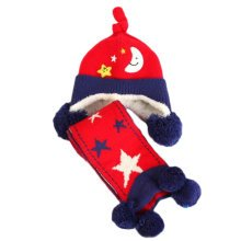 Winter Baby Kids Warm Earmuffs Hats Scarf Comfortable Plush Breathable Caps Best Gift Set-Red