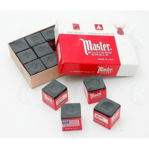 Master Billiard Pool Cue Chalk Box 12 Cubes Black