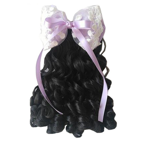 Children Girls Long Curly Wigs Hair Extensions Hair Clip Kids Wig Hairpiece, D
