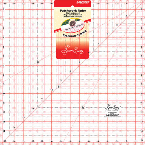 """SewEasy Square Quilt Ruler-15.5""""X15.5"""""""