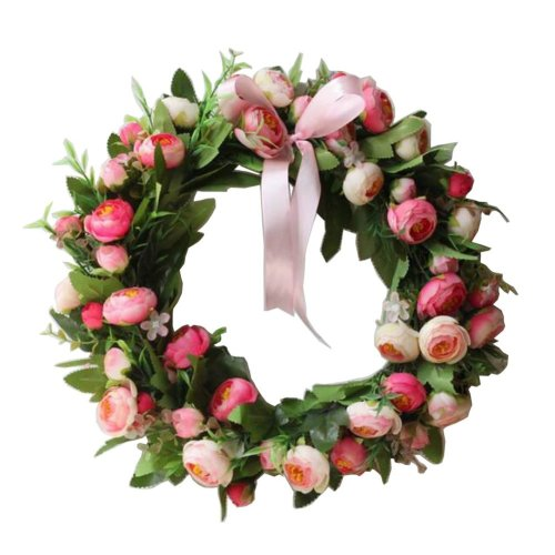 Artificial Wreath Hanging Floral Garland Door Wreath Wedding Decor #02