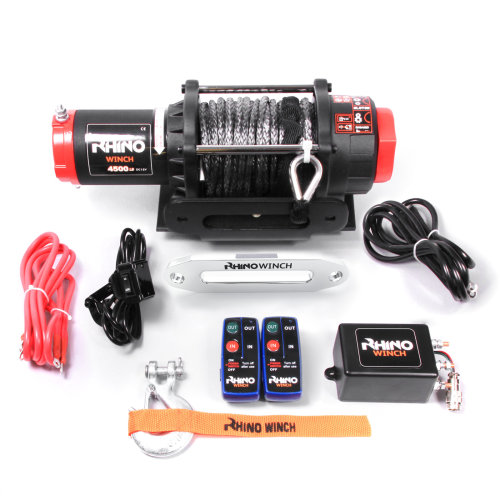 Rhino Electric Winch Wireless 4500Lb / 2040Kg 12v Carbon Black - Synthetic Dyneema Rope - Stronger Than Steel