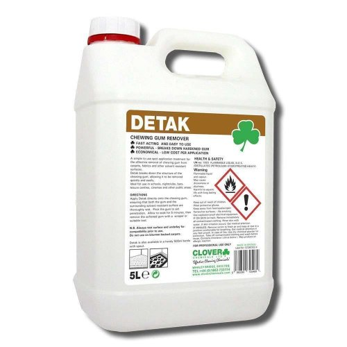 Clover Detak 5Ltr Chewing Gum Remover Fast Acting Powerful Cleaner Schools