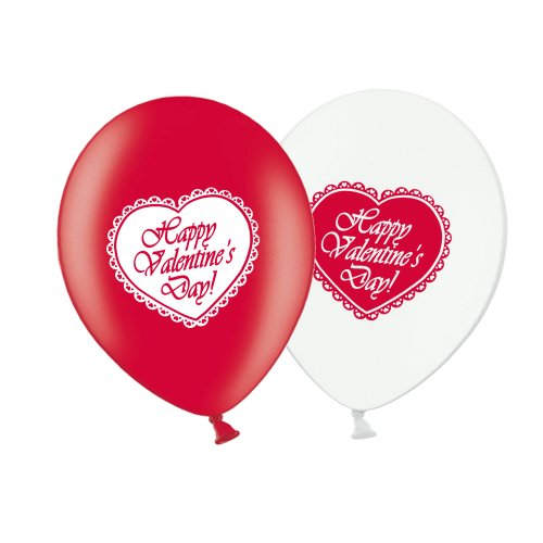 """Valentine's Day Lace Heart  - R&W Asst 12"""" Latex Balloons pack of 10"""