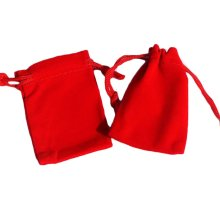 Pure Color Candy Pouch Drawstring Bag Cloth Gift Bag 35pcs-Red