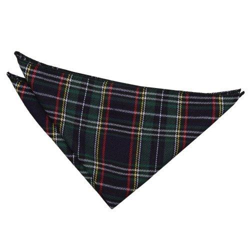 Black & Green w/ Thin Stripes Tartan Pocket Square