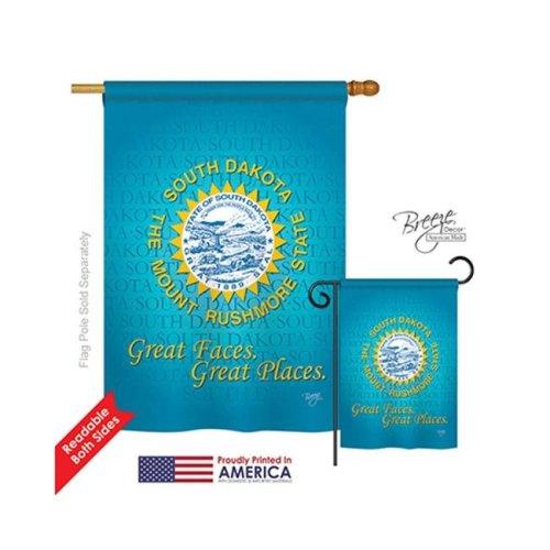 Breeze Decor 08146 States South Dakota 2-Sided Vertical Impression House Flag - 28 x 40 in.