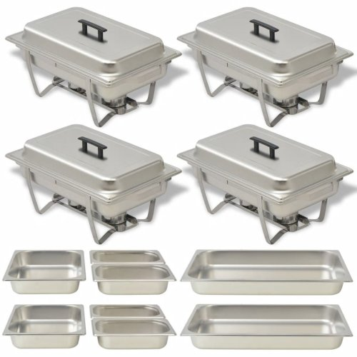 vidaXL Chafing Dish Set 4 pcs Stainless Steel Lid Food Water Pan Stand Burner