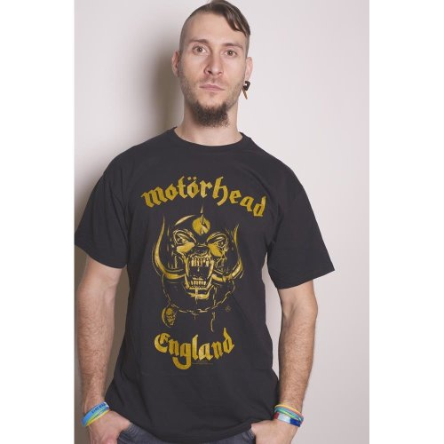 Motorhead Men England Classic Gold Short Sleeve T-shirt, Black, Small -  motorhead england official new tshirt lemmy rip warpig clean your clock mens