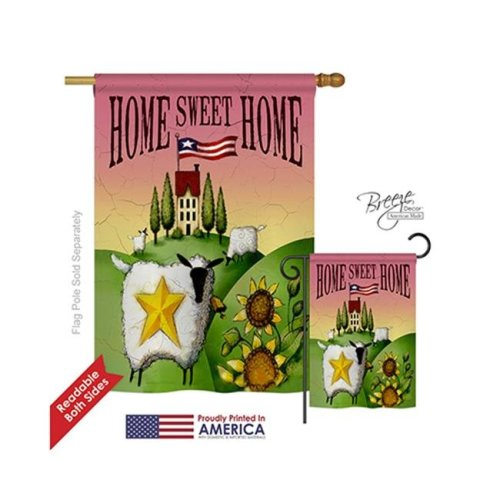 Breeze Decor 00061 Welcome Sheep Home Sweet Home 2-Sided Vertical Impression House Flag - 28 x 40 in.
