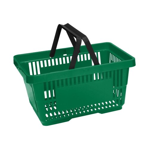 Green Plastic Shopping Baskets Pack of 10 Baskets 20 Litre Capacity