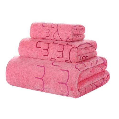 3 PCS Cute Rabbit Bath Towel Sets Bath Sheet Towels, Pink