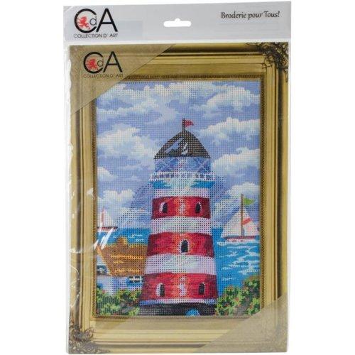RTO CD6230K 38 x 24 cm Collection D Art Stamped Needlepoint Kit - Lighthouse