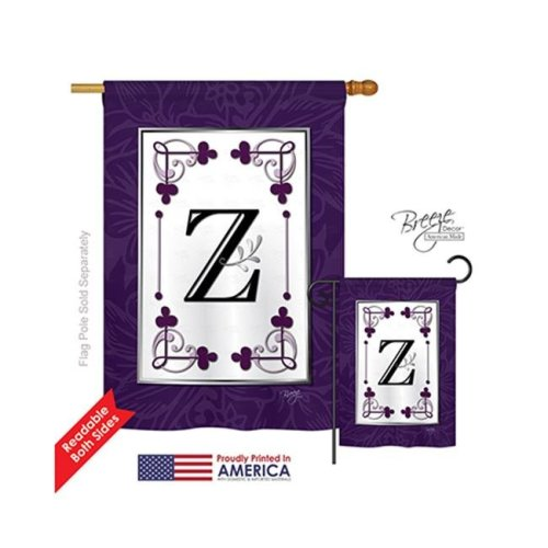 Breeze Decor 30026 Classic Z Monogram 2-Sided Vertical Impression House Flag - 28 x 40 in.