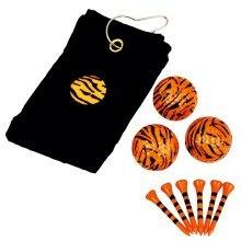 Black & Orange Tiger Print Golf Towel Gift Set - Longridge Black -  longridge tiger towel gift set blackorange