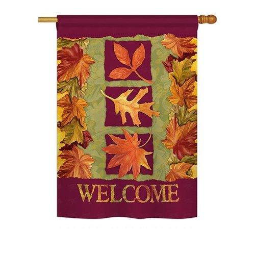 Breeze Decor BD-HA-H-113061-IP-BO-DS02-US 3 Fall Leaves Fall - Seasonal Harvest & Autumn Impressions Decorative Vertical House Flag - 28 x 40 in.
