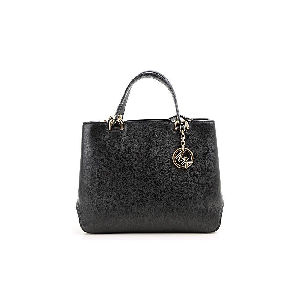c8fc599f069a Michael Kors Anabelle Medium Top-Zip Leather Tote Bag - Black -  30S6GAPT2L-001. >
