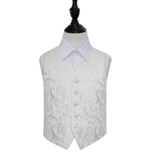 Ivory Floral Wedding Waistcoat for Boys 32'