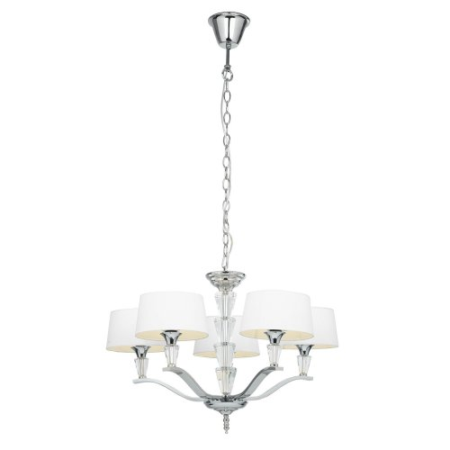 Modern Polished Nickel 5 Arm Pendant With White Oval Shades