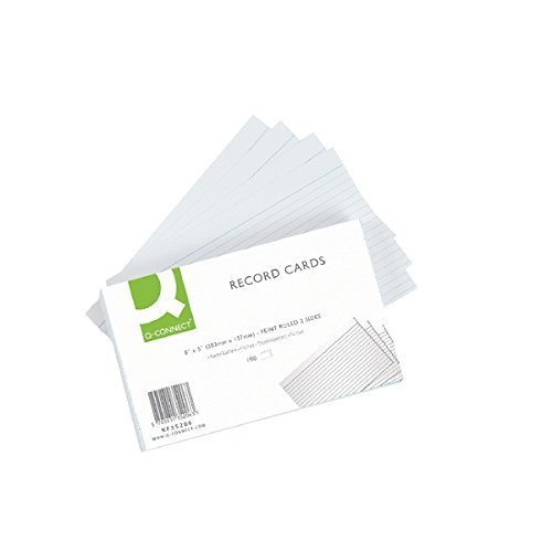 Q-Connect Ruled Feint Record Card, 8 x 5 Inches - White, Pack of 100