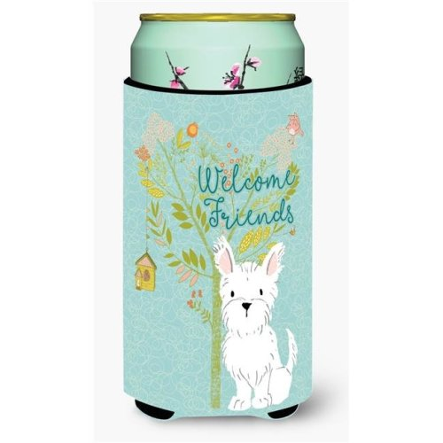 Carolines Treasures BB7640TBC Welcome Friends Westie Tall Boy Beverage Insulator Hugger