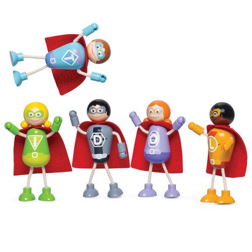 Tidlo Wooden Superhero Figure Pack