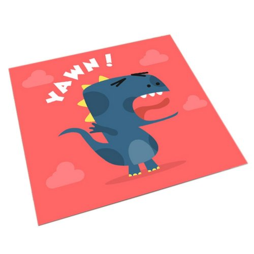 Square Cute Cartoon Children's Rugs, Red And Cartoon Dinosaurs