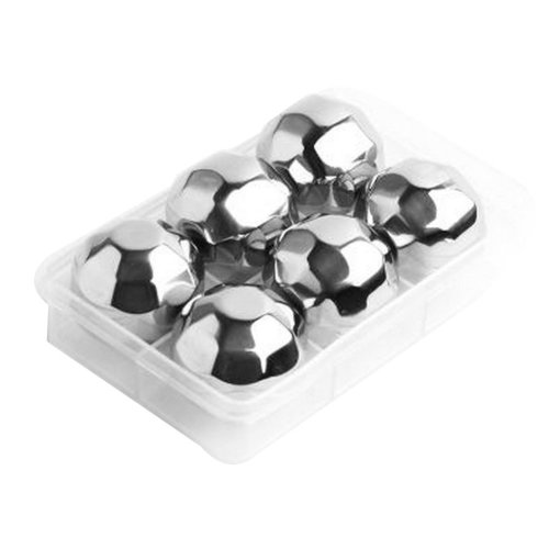 Set of 6 Stainless Steel Ice Cube Stainless Steel Reusable Ice Cubes [Diamond]