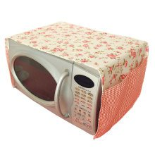Pastoral Floral Print Microwave Oven Dustproof Cover Dust Cover Flowers Pink