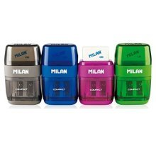 MILAN 151008 2 In 1 Sharpener and Eraser - Assorted Colours (Pack of 16)