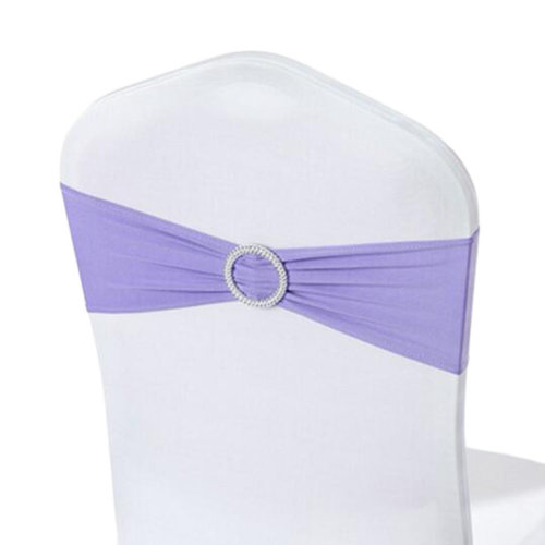 10PCS Chair Back Wedding Bow Sashes Chair Cover Bands With Buckle-Purple
