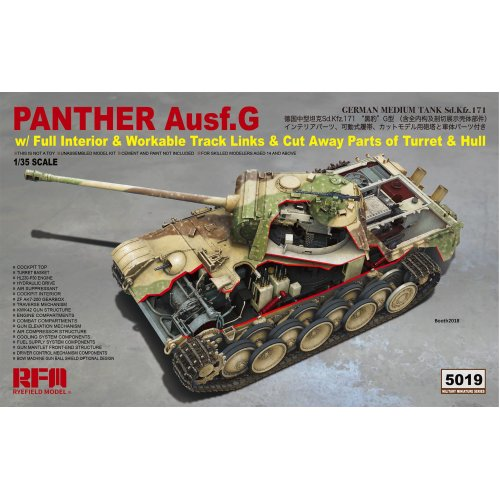 1:35 Panther Ausf.G with full interior & cut away parts & workable track links Military Model Kit