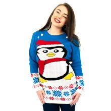 Miss Lulu Women Thicker Christmas Jumper Penguin Knitted Sweater