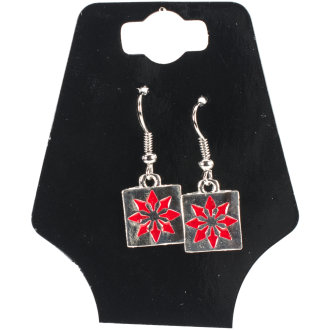 Charming Accents Wire Earrings-Red Block