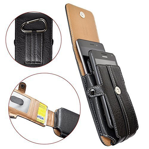 3be11439b33d AXELENS COVER CASE VERTICAL HOLSTER POUCH FOR DOUBLE SMARTPHONE - Two  Phones Case - BLACK LEATHERETTE - With Belt Loop, Carabiner and Magnetic...