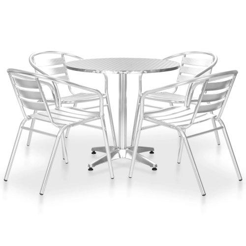 vidaXL 5 Piece Outdoor Dining Set Aluminium Silver Patio Table Stackable Chair